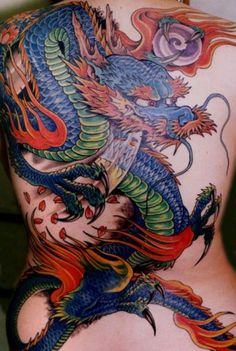 Japanese dragon backpiece tattoo by Greg James. Dragon Tattoo Simple, Dragon Tattoos For Men, Japanese Dragon Tattoos, Dragon Tattoo Designs, Tattoos For Guys, Dragon Tattoo With Colour, Blue Dragon Tattoo, Girl Back Tattoos, Back Tattoo Women