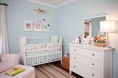Aqua nursery white crib white ikea dresser