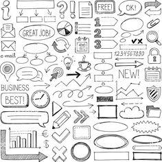 Set of doodle design elements. Set of doodle design elements. Bullet Journal Banner, Bullet Journal Notes, Bullet Journal Aesthetic, Bullet Journal Writing, Bullet Journal Ideas Pages, Bullet Journal Inspiration, Visual Note Taking, Free Doodles, Sketch Notes