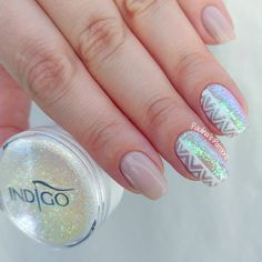 Aztec Nails with Iridescent Glitter - Nail Art Tutorial