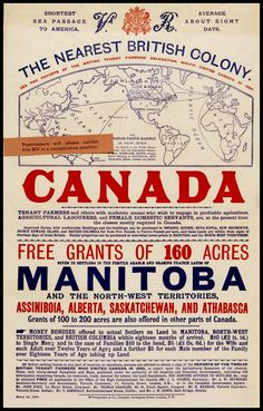 Canada Manitoba Immigration Poster 1892 Print by BloominLuvly Canadian Things, I Am Canadian, Canadian History, Vintage Advertisements, Vintage Ads, Ontario, Short Passage, Toronto, History Timeline