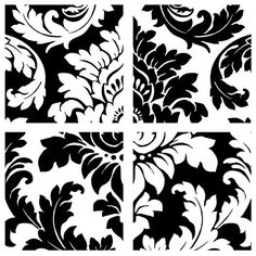 Interior Place - Black White Full Damask Wall Decals Appliques, $29.99 (http://www.interiorplace.com/black-white-full-damask-wall-decals-appliques/)