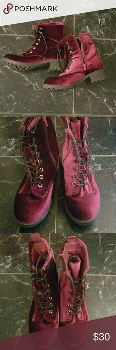 Wet Seal Red Velvet Boots ❤red velvet ❤zip up boots ❤wet seal ❤hardly worn ❤great condition Wet Seal Shoes Ankle Boots & Booties