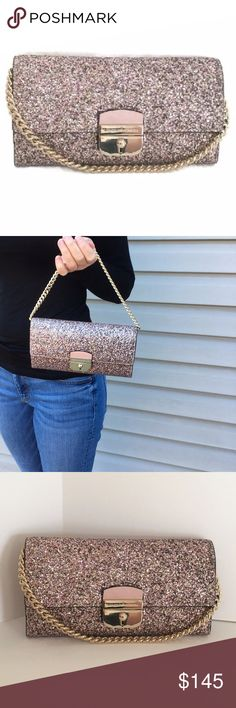 """Kate Spade Milou Evening Bag in Rose Gold Glitter This stunning BRAND NEW chain wallet from Kate Spade New York comes in rose gold glitter, just in time for the holidays! It's called a Milou.  Rose Gold Glitter (Leather with Glitter) Magnetic Lock Closure Kate Spade Lettering on Clasp (front) Gold Tone Hardware KSNY Jacquard Lining 8 Credit Card Slots 2 Multipurpose Compartments & Zipper Compartment Detachable Chain Strap  4"""""""" x 7.2"""" x 1"""" Stored in Smoke-Free Environment kate spade Bags"""