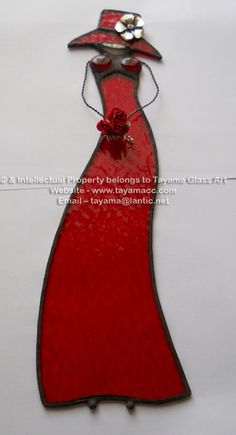 Elegant in Red Boobie Doll - Custom made to order Fused Glass Plates, Stained Glass Ornaments, Stained Glass Suncatchers, Stained Glass Crafts, Stained Glass Designs, Stained Glass Patterns, Stained Glass Mirror, Leaded Glass, Stained Glass Windows