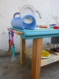 Kids kitchen made out of reclaimed materials