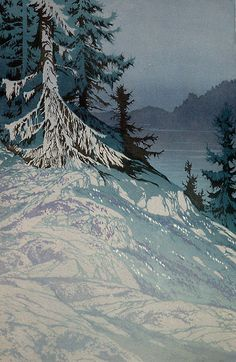 ✨ Oscar Droege (1898-1983) - Weiße Tanne, Farb-Holzschnitt ::: White Fir Tree, Colour Woodcut