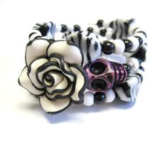 Sugar Skull Bracelet Day Of The Dead Wrap Cuff by sweetie2sweetie, $24.99