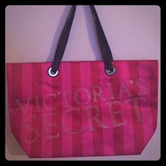 Victoria's Secret striped tote bag Striped pink and red tote bag from VS no sign of wear or use. Victoria's Secret Bags Totes