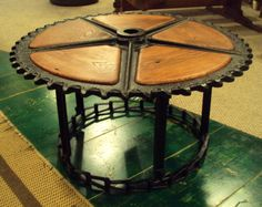 Industrial large saw blade table. Inquire for a custom order, missdulcie@aol.com.