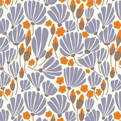 129802 Breezy Floral Blue from Morning Song by Elizabeth Olwen for Cloud9 Fabrics Voile