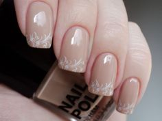 Nude nails: OPI- Samoan sand and H - Nerd with a design from bm318