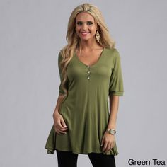 @Overstock.com - 24/7 Comfort Apparel Women's Half-sleeve Tunic Top - Pair this women's short-sleeve tunic top from 24/7 Comfort Apparel with leggings, jeans or a skirt for a simple, relaxed outfit. This rayon V-neck pullover, available in black, green or lilac, features elbow sleeves and button detail at the neckline.  http://www.overstock.com/Clothing-Shoes/24-7-Comfort-Apparel-Womens-Half-sleeve-Tunic-Top/7753177/product.html?CID=214117 $35.99