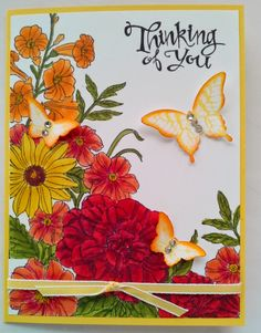 """Hi Friends, I want to share another card with you using the Corner Garden Stamp Set and the new Blendabilities Pens. Both of these are """"must haves"""", especially if you like using alcohol markers to color your line images. Alcohol Markers, Copic Markers, Corner Garden, Making Greeting Cards, Flower Patch, Tampons, Pretty Cards, Sympathy Cards, Stamping Up"""