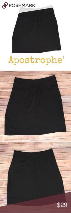 Apostrophe Below Knee Black Lined Skirt 12 Apostrophe Below Knee Night Out / Wear To Work Business Black Lined Skirt 12  ▫️No holes ▫️No stains  ▫️Measurements in photos   🛍For the best deal, I offer a bundle discount! Please check out my closet for other fabulous items!🛍 Apostrophe Skirts Midi