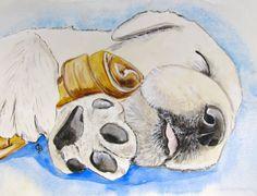 Yellow Labrador Retriever Puppy original by PaintedbyCarol on Etsy, $150.00