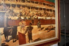 Bull Fighter Painting with Madador by VintagebyViola on Etsy, $275.00