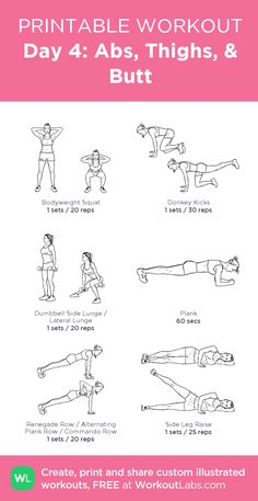Day 4: Abs, Thighs, & Butt – my custom workout created at WorkoutLabs.com • Click through to download as printable PDF! #customworkout
