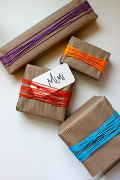 embroidery thread gift wrap idea... chic and simple!