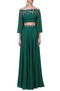 POOJA PESHORIA Bottle Green Crystal and Cutdana Embellished Crop Top Skirt Set. Shop Now! #poojapeshoria #bottlegreen #crystal #embellished #fringe #croptop #georgette #ethnic #indianfashion #indiandesigners #perniaspopupshop #happyshopping
