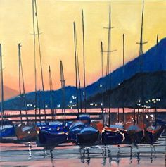 Boats at Twilight by #artist Valerie Ghoussaini. #oilpainting found on the FASO Daily Art Show -- http://dailyartshow.faso.com