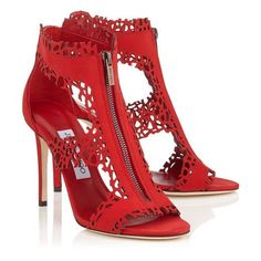 Red Laser Perforated Suede Sandals | Megan 100 | Pre Fall 16 | JIMMY CHOO
