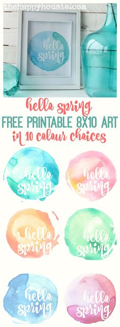 hello spring free printable watercolour background art available in 10 springy colour choices at thehappyhousie.com