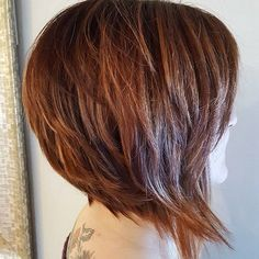 a line bob, angled bob, copper hair, red hair, auburn hair, texture bob