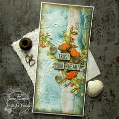Tim Holtz Funky Floral Sizzix Alterations Ideaology Worn Wallpaper Card for The Funkie Junkie Boutique 1