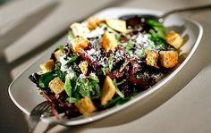 Caesar salad dressing and croutons  Focaccia is used for croutons in this recipe from PizzaVino in Sebastopol, Calif.