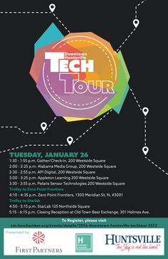 The first ever Downtown Tech Tour is coming up! Check out this poster for more details. Please email info@downtownhuntsville.org with any questions.