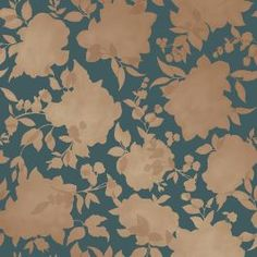 Tempaper ft Peacock Blue and Gold Vinyl Floral Self-Adhesive Peel and Stick Wallpaper at Lowe's. Silhouette Peacock Blue and Gold is reminiscent of a beautiful summer canopy of leaves, petals, and sunlight. A rich floral silhouette of metallic gold Self Adhesive Wallpaper, Of Wallpaper, Peel And Stick Wallpaper, Blue And Gold Wallpaper, Disney Wallpaper, Cream Wallpaper, Wallpaper Online, Designer Wallpaper, Blue And Copper