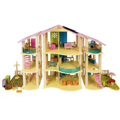 Modern Wood Dollhouse with Furniture $109.95 (39% OFF) + Free Shipping