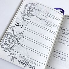 Floral Bullet Journal Layout