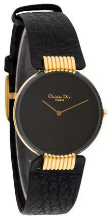 Christian dior black moon gold plated ladies watch with shark skin strap watches pinterest for Christian dior watches
