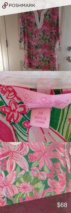 LILY PULITZER DRESS Beautiful pink and green Lilly's  bold and stunning print.  This is BNWOT. Lilly Pulitzer Dresses