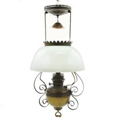 Antique Hanging Kerosene Oil Lamp Converted To Electric Rayo Milk Glass  Shade Brass Copper Scrolls By