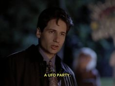 When he scored an invite to the coolest party. | 44 Times Fox Mulder Was Totally Adorable