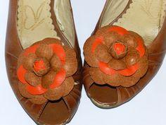 Leather flower Camelia shoe clips, genuine leather flower shoe clips, flower brooch -camelia light brown/orange 7cm! by jolanya on Etsy