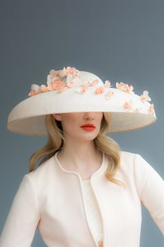 b5f120895b9 Handcrafted in our London studio. Sinamay wide brim hat with handmade silk  flowers. Hat