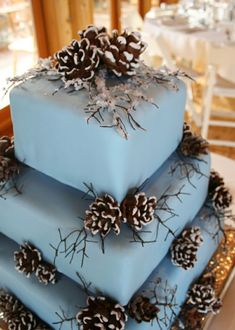 Winter, frosty pine cone wedding cake for a winter wedding. LOVE this cake! Pretty Cakes, Beautiful Cakes, Amazing Cakes, Winter Torte, Winter Cakes, Pine Cone Wedding, Winter Wonderland Wedding, Blue Christmas, Winter Christmas