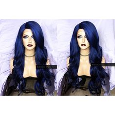 U.S.A. Heat OK Dark BLUE Lace Front Wig w/ Long Wavy Ombre Navy Curly... (160 AUD) ❤ liked on Polyvore featuring beauty products, haircare, hair styling tools, curling iron, straightening iron, flat curling iron, flat iron and straight iron