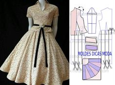Faça uma leitura minuciosa da imagem do molde vestido godé para melhor entender o processo de transformação do molde base neste belo e modelo. Faça o guard