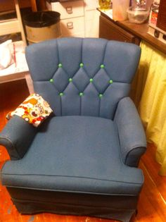 Painted Fabric Chair- Annie Sloan Aubusson Blue and Antibes Green