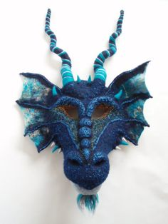 Needle Felted Dragon Mask Art Mask Custom Theater by AmandaDoster, $684.00