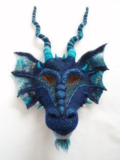 Needle Felted Dragon Mask Art Mask Custom Theater by AmandaDoster, $684.00