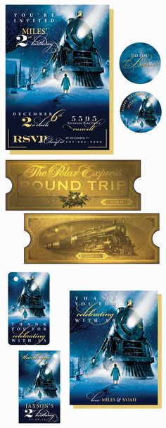 Polar Express Party Pack - Polar Express Invitation, Stickers/Cupcake Toppers, Believe Golden Ticket, Polar Express Favors Tags and coordinating Thank You Card
