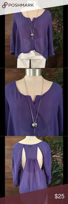 Sparkle and Fade Sheer Blouse Lavender Sheer Hi-Lo Blouse with 3/4 sleeves, and cut outs in back. Urban Outfitters Tops Blouses