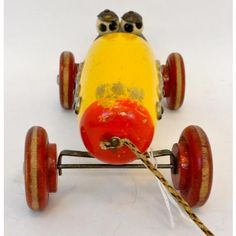 Ted Toy wooden pull toy racer with clacker Wooden Wheel, Pull Toy, Old Toys, 1920s, Trains, Ted, Old Things, Antiques, Metal
