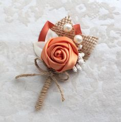 Orange Ivory Burlap Rosette Boutonniere/ Fall Rustic by SunnyApril Prom Corsage And Boutonniere, Diy Boutonniere, Corsage Wedding, Corsages, Crochet Flower Patterns, Crochet Flowers, Fabric Flowers, Burlap Rosettes, Family Flowers